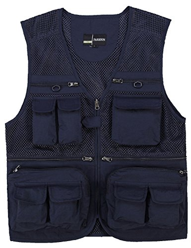 Zhusheng Men's Mesh Multi Pockets Photography Hunting Fly Fishing Outdoor Quick Dry Vest Breathable Waistcoat Jackets (Large(Asia Tag 3XL), Navy Blue)