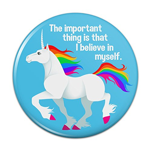 (Unicorn The Important Thing is That I Believe in Myself Kitchen Refrigerator Locker Button Magnet - 3