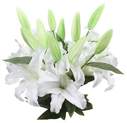 Duovlo 34'' Artificial White Lilies Bouquets Real Touch Tiger Lily Flowers With 4 Heads for Wedding Home Party Decor,Pack of 2 - Tiger Lily Flower