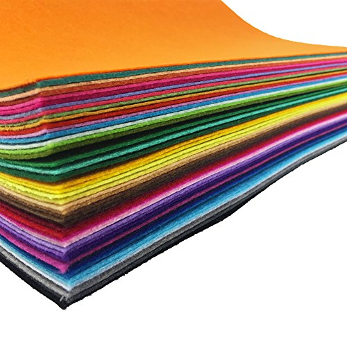 flic-flac 48PCS 12 x 12 inches (30 x 30cm) Assorted Color Felt Fabric Sheets Patchwork Sewing DIY Craft 1mm Thick … (30cm 30cm, 48pcs) ()