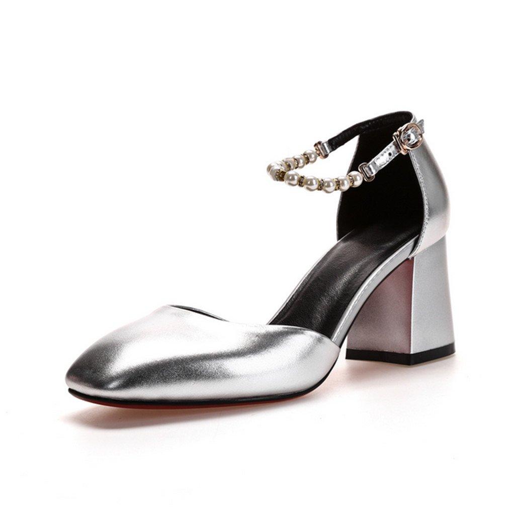 BIANJESUS Sandalen Square Head mit Perlen High Heels One-Button Buckle Hohlen Frauen Fashion Wild Jugend Mittelalter Silber EU39