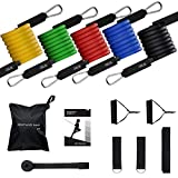 Mpow 150 LBS Resistance Bands set, Resistance Bands with Handles, 5 Stackable Exercise Bands with Door Anchor, Ankle Straps, Guide Book, Heavy Resistance Tube Bands for Men, Women, Portable Tube Bands