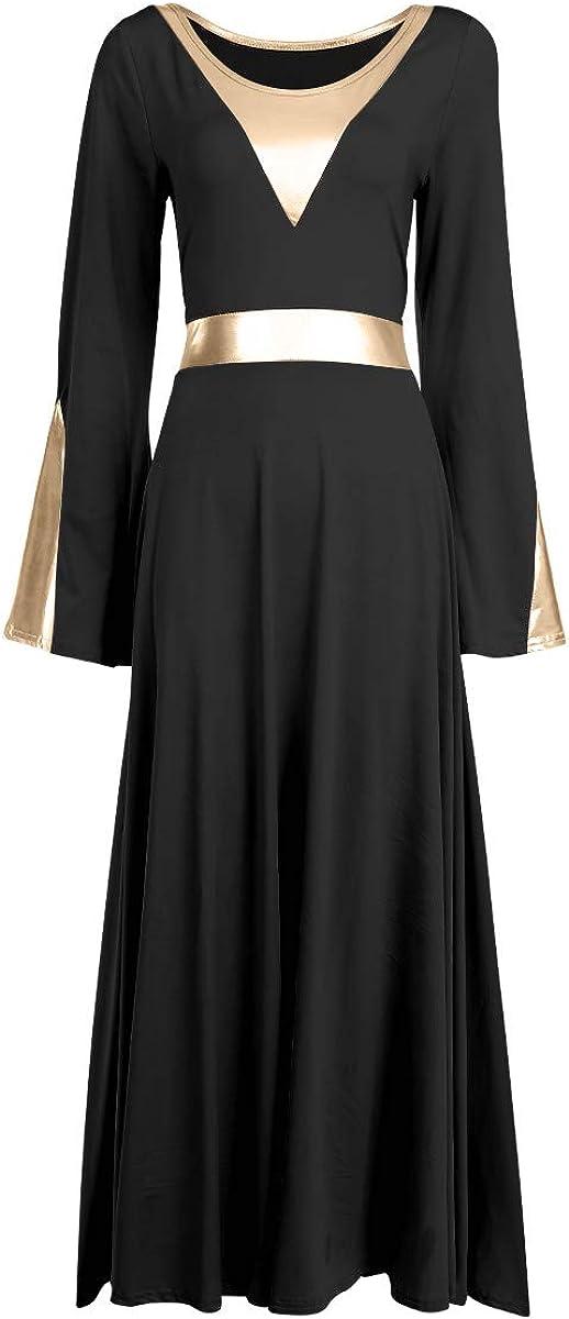 IBAKOM Women Praise Robe Worship Dress Metallic Gold Liturgical Full Length Wide Swing Loose Fit Dancewear