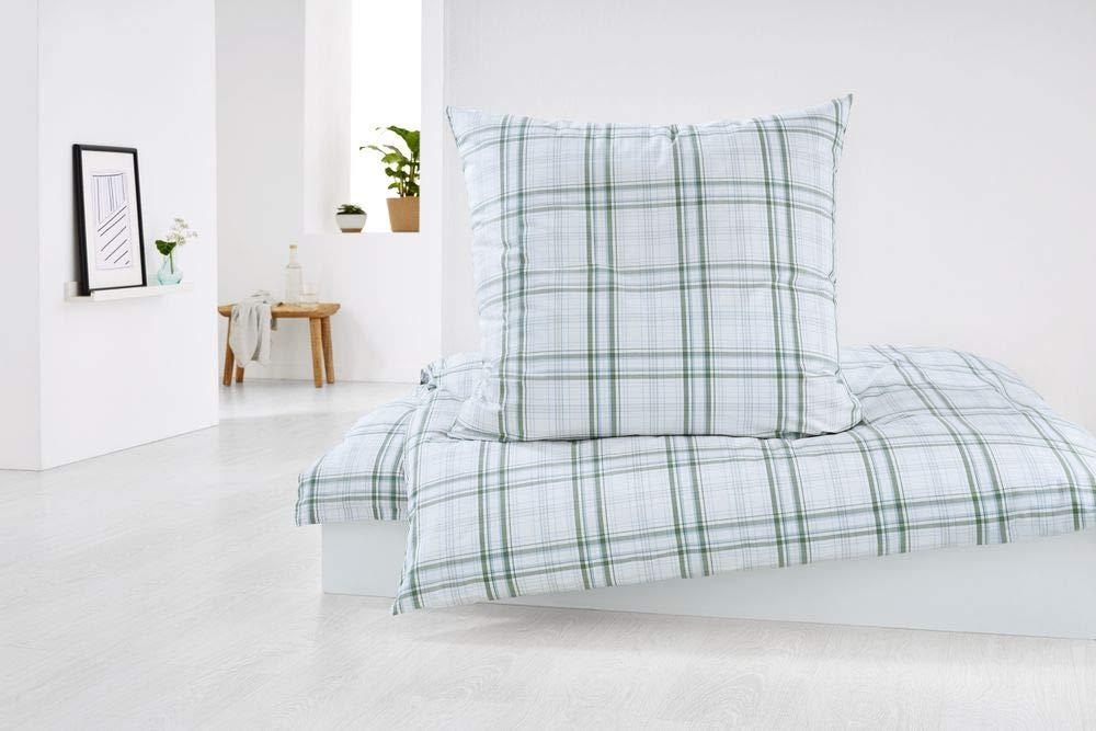 Tchibo Perkal Bettwäsche Mit Karomuster übergröße Weiß Grün Grau