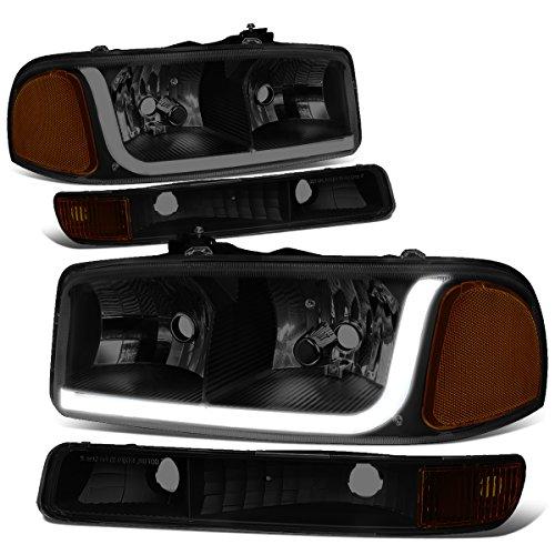 GMC Sierra Classic / Yukon LED DRL Light Bar Black Housing Smoke Lens Headlight+Bumper Lamp Gmc Sierra Yukon Headlight