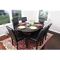 Black Leather 7pc Oval Solid Top Dining Table Contemporary Cappuccino Finish Solid Wood Dining Table Chairs Set Oval