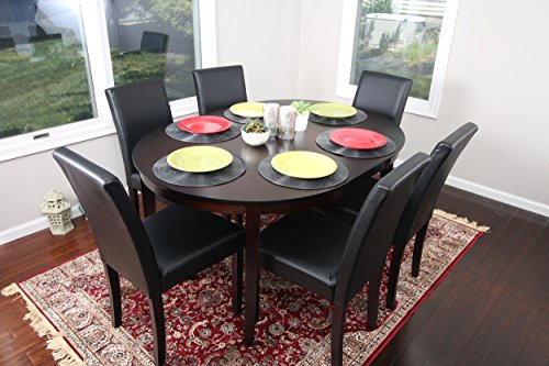 Black Leather 7pc Oval Solid Top Dining Table Contemporary Cappuccino Finish Solid Wood Dining Table Chairs Set Oval (Oval Dining Sets Room)