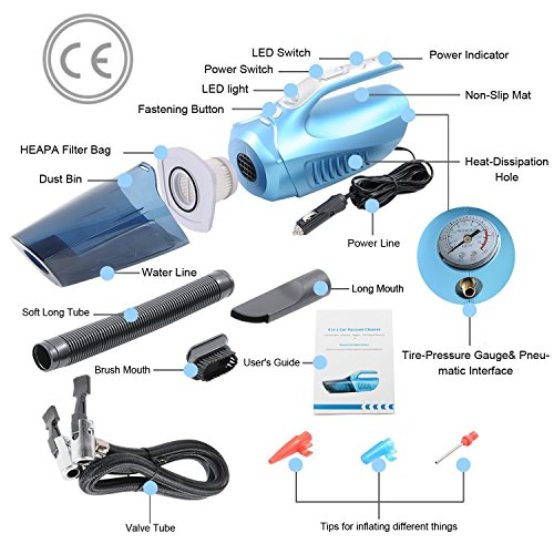 Handheld Car Vacuum Cleaner, NUWA Mini Auto Wet/Dry Vehicle Vacuum Dust Collector 12V 100W 4 in 1 Multifunctional Lightweight Hand Vac with Tire Inflator/ Tire Pressure Gauge/ Led Light(Blue) by NUWA (Image #2)