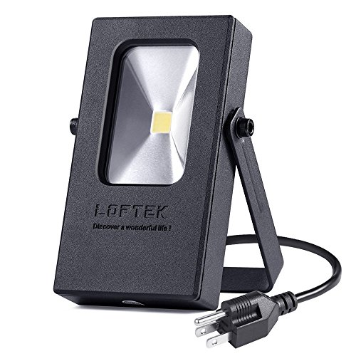 LOFTEK Nova Mini 10W LED Outdoor Light, Plug in Daylight White 5000K Spotlight, IP65 Waterproof Outdoor Security Spotlight, Black