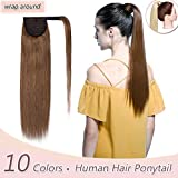 100% Remy Human Hair Ponytail Extension Wrap Around One Piece Hairpiece With Clip in Comb Binding Pony Tail Extension For Girl Lady Women Long Straight #6 Light Brown 16'' 80g