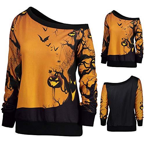 MOKO-PP Women Halloween Party Skew Neck Pumpkin Print Sweatshirt Jumper Pullover Tops(L)