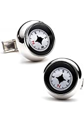 Sterling Silver Compass Cufflinks Novelty 1 x 1in
