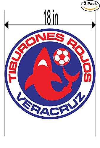 CanvasByLam Tiburones Rojos de Veracruz Mexico Soccer Football Club FC 2 Stickers Car Bumper Window Sticker Decal Huge 18 inches by CanvasByLam
