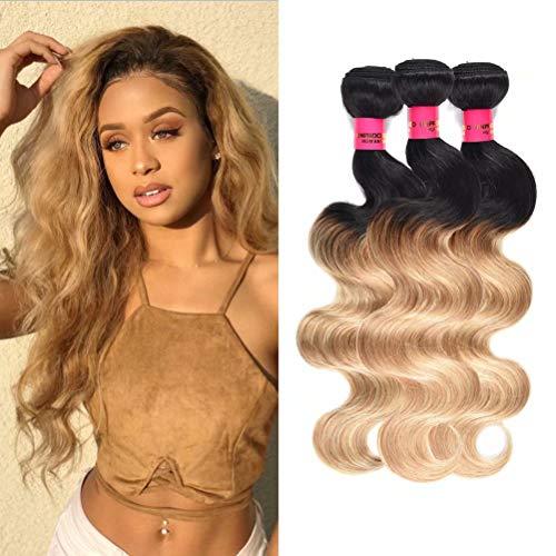 Wome Hair 3 Bundles Brazilian Ombre Blonde Curly Remy Hair Weaves Total 150g Cheap Two Tone 1B#27 Body Wave Human Hair Bundles (16