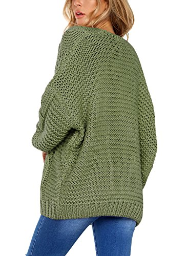 Open XXL Sweater Cardigan Sleeve S Womens Long Green DOKOTOO Front Knit Chunky 5y1qcvR