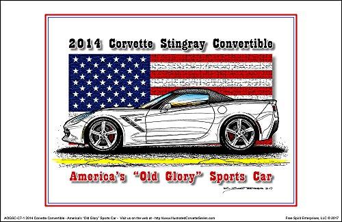 (America's Old Glory 2014 Corvette Convertible - American Flag Art Print)