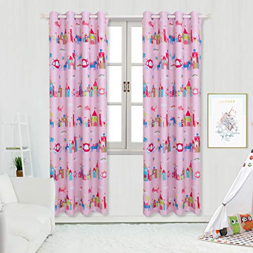 (BGment Blackout Girls Curtains - Grommet Thermal Insulated Room Darkening Printed Animal Castle Patterns Nursery and Kids Bedroom Curtains, Set of 2 Curtain Panels (52 x 84 Inch, Baby Pink))