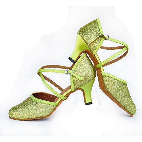 Señoras Zapatos De Baile Latino Zapatos De Chocolate La luz verde de 8cm.