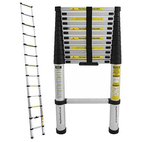 Charles Bentley DIY 3.8m Telescopic Extendable Ladder - Silver