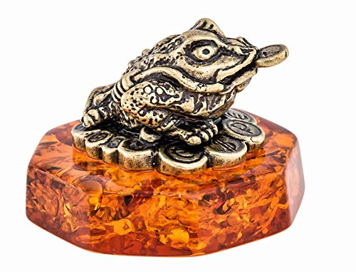 Brass and Amber Figurine Feng Shui Frog with Coins Original Souvenir from Kaliningrad, Russia. Packed in a Beautiful Siberian Birch Bark Gift Box (Random Selection)
