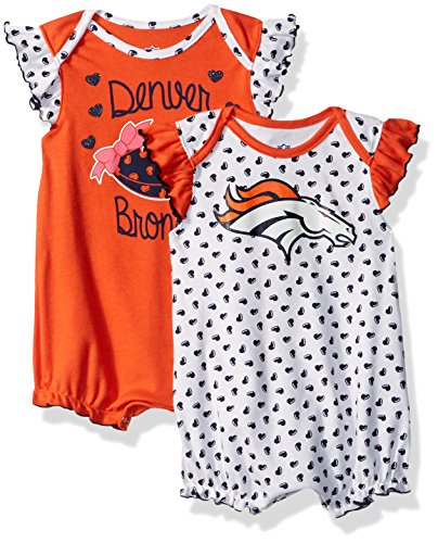 Nfl Denver Broncos Girls   Newborn  Heart Fan  2 Piece Creeper Set  3 6 Months  Orange