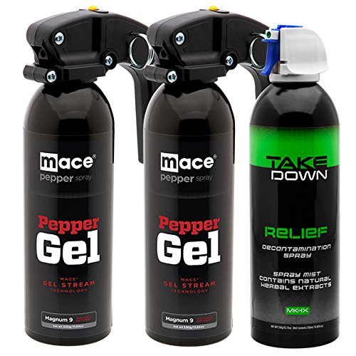 Mace (3 Canister Bundle) Brand Police Strength Less-Than-Lethal Pepper Gel Defense Kit Solution for Homes, Schools and Personal Use 80928 Kit with Invisible UV Identifying Dye