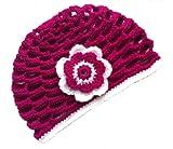 POM KIDS Crochet Beanie Contrast OP Hat with Flower : Pinkish