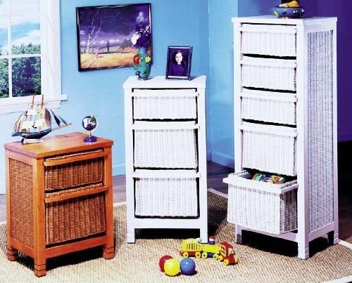 Wicker Two Drawer Storage Cube - NIB (Pictured on Left) (Whitewash) (Cabinet Rattan Filing)