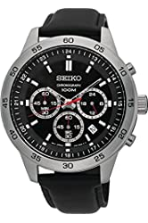 SEIKO SKS519P2,Men's Chronograph,Stainless Steel Case,Leather Strap,Silver Tone,Black Dial,100m WR,SKS519P2