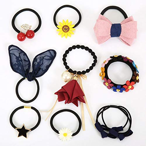 OLIJU Wedding Party Elegant Rubber Band Hair Styling Clip Jewelry Flower Buds Adult Women Girls Hairpin Accessories Ornaments Personalized Gift (¡ï Natural Beauty Nine Sets