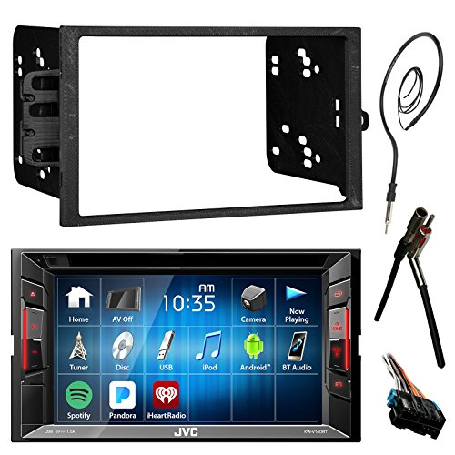 "JVC 6.2"" Touch Screen Bluetooth CD DVD Car Stereo Receiver Bundle Combo with Metra Dash Installation Trim Kit, Wiring Harness For GM Vehicles, Enrock 22"" AM/FM Radio Antenna with Adapter"