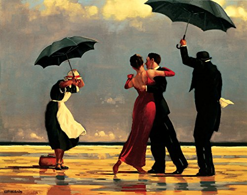 - 47in x 35in The Singing Butler by Jack Vettriano - Stretched Canvas w/ BRUSHSTROKES