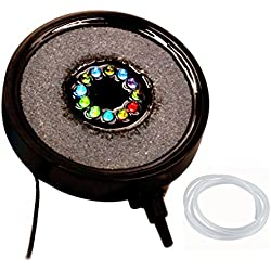 Spriak 12 Colors Changing Fish Tank Aquarium decorations Accessories Bubble Disk Air Stone with Underwater Led Light - Bubble Needs to Match Air Pump
