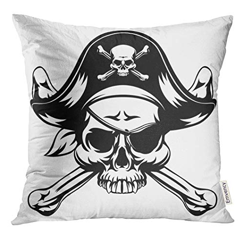 Golee Throw Pillow Cover Black Tattoo Skull and Crossbones Pirate Jolly Roger Wearing Hat and Eye Patch White Block Bones Decorative Pillow Case Home Decor Square 20x20 Inches Pillowcase
