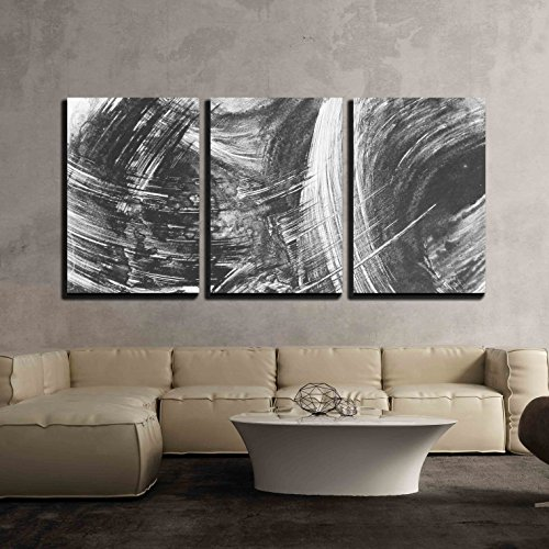 wall26 - 3 Piece Canvas Wall Art - Black and White Abstract Brush Painting - Modern Home Decor Stretched and Framed Ready to Hang - 16