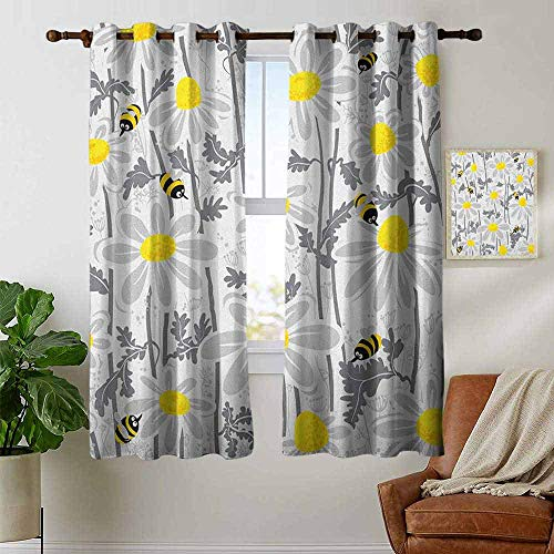 petpany Bedroom Curtains 2 Panel Sets Grey,Daisy Flowers with Bees in Spring Time Honey Petals Floret Nature Purity Blooming, Yellow White,Complete Darkness, Noise Reducing Curtain 42