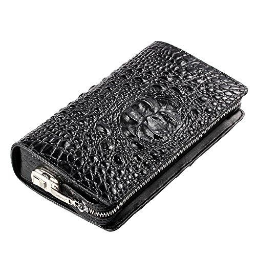 - Badiya RFID Blocking Clutch Wallet Crocodile Cowhide Leather Anti-theft Lock