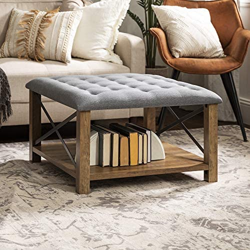 Walker Edison Tufted Upholstered Fabric Ottoman Stool Living Room Foot Rest Coffee Table Storage Shelf 30 Inch
