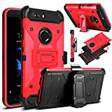 zte zmax swivel clip - ZTE Blade Z Max Case, ZTE ZMax Pro 2 Case, ZTE Sequoia Case, Venoro Heavy Duty Armor Shockproof Rugged Protection Case Cover with Belt Swivel Clip and Kickstand for ZTE Z982 (Red)
