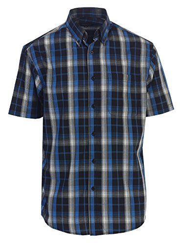 Gioberti Men's Plaid Short Sleeve Shirt, Black/Blue/White, X Large by Gioberti