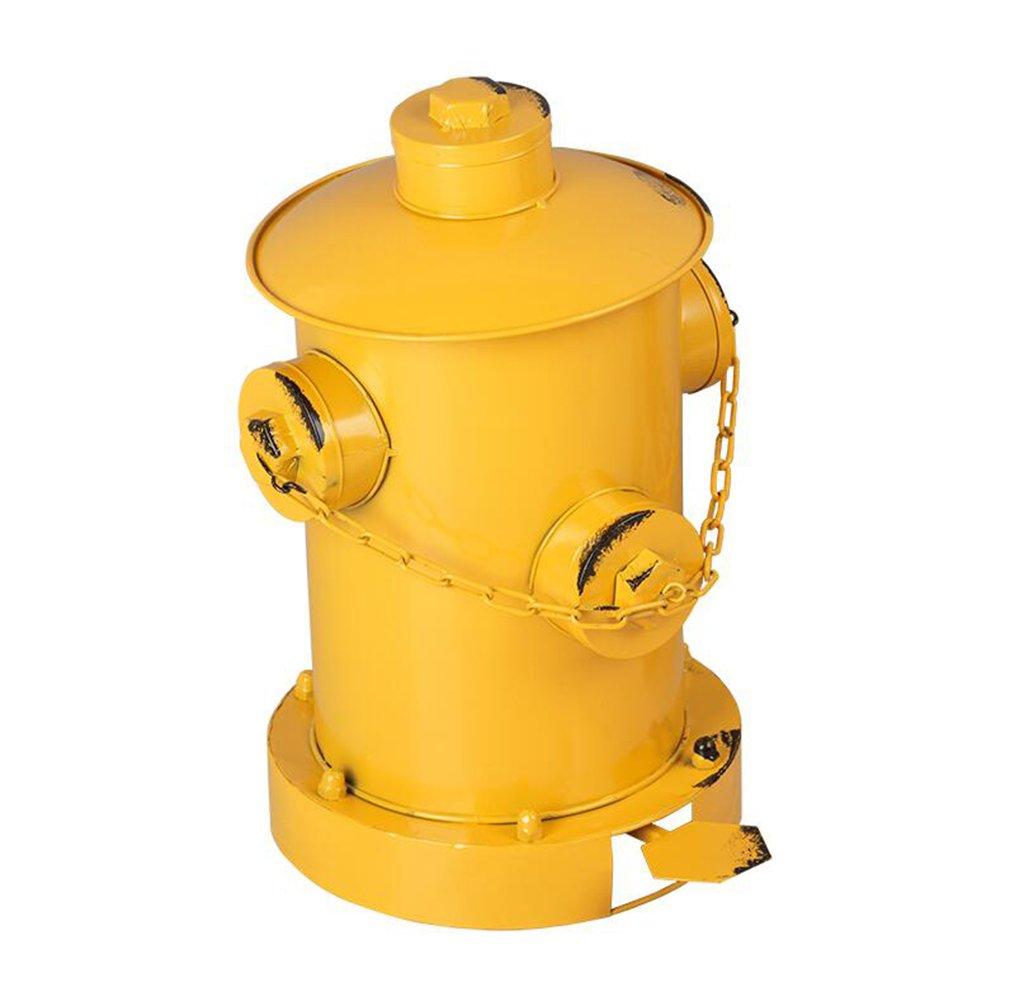 wAWzj Rubbishごみ箱Bin Binアメリカンレトロ工業風Makes古い消火栓フットペダルDecoratingガベージ缶 イエロー 6100963124028  イエロー B078FZHYK7