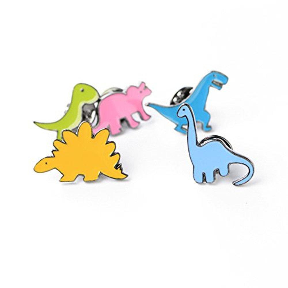 Nikgic 5 pcs / set Mignon Petit Dinosaure Série Broche Pins Set Enfants Cadeau D'anniversaire Col Revers Badge Bijoux (Couleur: Multicolore)