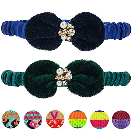 Blueberry Pet Pack of 2 Cat Collars, Luxurious Elastic Ribbon Breakaway Cat Collar with Velvet Bows and Pearl Decorations, Neck 9
