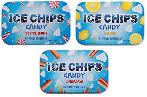 ICE CHIPS Candy 3 Pack Assortment (Peppermint, Lemon, Cinnamon) - Includes BAND as shown by ICE CHIPS