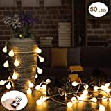 Outdoor String Lights, 18.7ft 50 LED Waterproof Ball Lights, 8 Lighting Modes Dimmable Remote Ball, Battery Powered Starry Fairy String lights for Garden,Christmas Tree, Parties