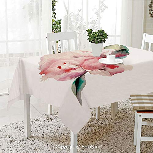 AmaUncle Party Decorations Tablecloth Hand Drawn Watercolor Peonies Realistic Flower in Warm Color Palette Nature Resistant Table Toppers (W60 xL84)]()
