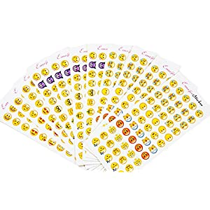 Emoji Stickers 12 Sheets Most Popular Emojis with Same Happy Faces Kids Stickers From iPhone Facebook Twitter Instagram