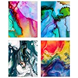 wall paint ideas Abstract Wall Art - Set of Four 8x10 Glossy Prints - Colorful Paint Splash Decoration