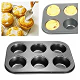 UNAKIM--New Nonstick Metal 6 Cup Muffin Cupcake Cake Bakeware Pan Tray Tin Mould Mold WB