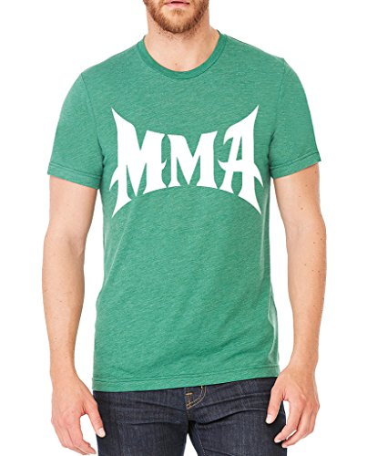 Interstate Apparel Inc Men's MMA Mixed Martial Arts Green Tri Blend T-Shirt C2 Large Green